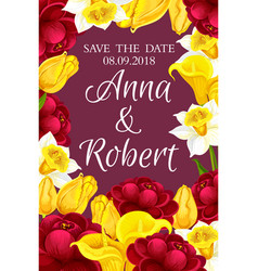 Wedding invitation and save the date floral card vector