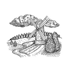 windmill country landscape engraving style vector image
