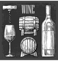 Wine set Bottle glass corkscrew barrel Black vector image