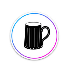 wooden beer mug icon isolated on white background vector image