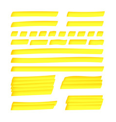 Yellow solid and dashed realistic highlight lines vector