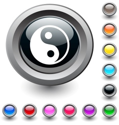 Ying yang round button vector image