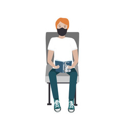 young man in medical mask sitting on train vector image