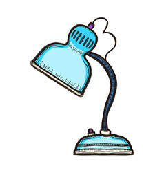 blue desk lamp isolated on white background vector image
