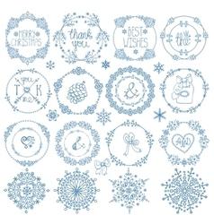 Christmasnew year decor setwinter circle frames vector