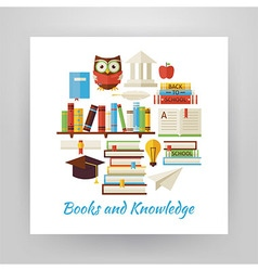 Flat Style Circle Set of Books Education and vector image vector image