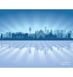Lisbon portugal city skyline silhouette vector