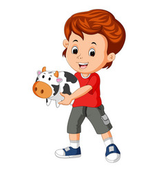 little boy holding cow bank vector image vector image