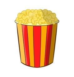 Popcorn in striped bucket icon cartoon style vector image vector image
