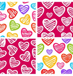 Set of four seamless patterns with sketchy hearts vector image vector image