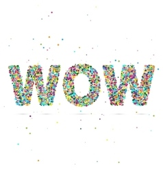 wow word consisting of colored particles vector image vector image
