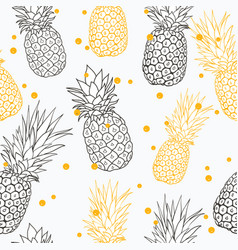 yellow grey pineapple polka dot summer vector image