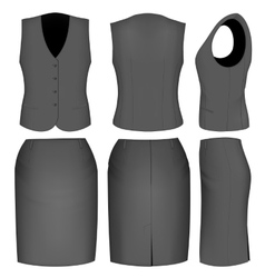 Formal black skirt suit for women vector image vector image