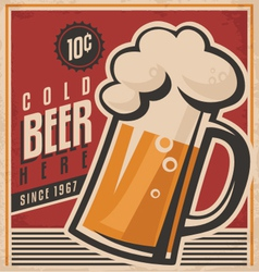 Retro beer poster vector