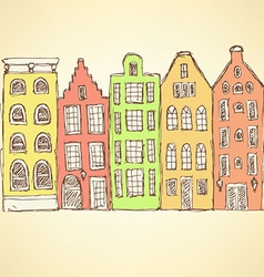 Sketch Amsterdam hauses in vintage style vector image