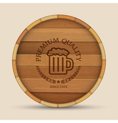 Beer label in form wooden barrel vector image vector image