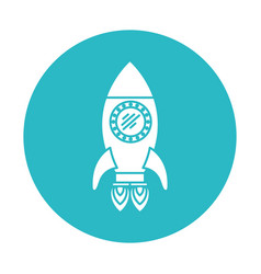 circle light blue with space rocket with two vector image vector image