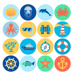flat marine icons vector image vector image
