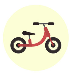 flat red kids balance bike icon vector image