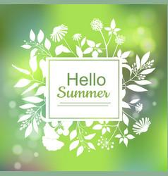 hello summer green card design vector image vector image
