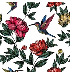 Hummingbird with flowers pattern vector image