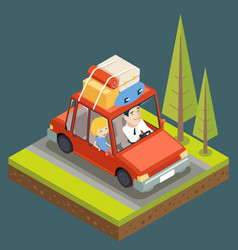 isometric car trip family adult road concept flat vector image