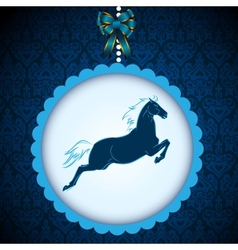 New Year2014 symbol blue horse card vector image vector image