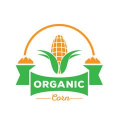 organic corn logo with rock mountain vector image vector image
