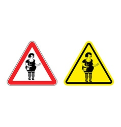Warning sign prostitute attention Dangers yellow vector image