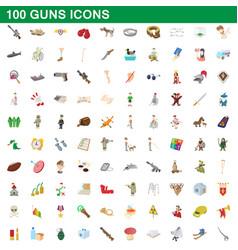 100 guns icons set cartoon style vector image vector image