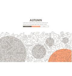 autumn doodle website template design vector image