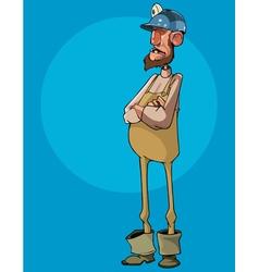 cartoon man worker in a helmet stands vector image vector image