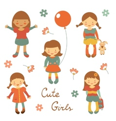 Cute little girls vector image vector image