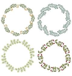 Hand drawn set of retro wreath vector image