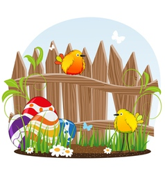 Little birds and Easter eggs vector image vector image