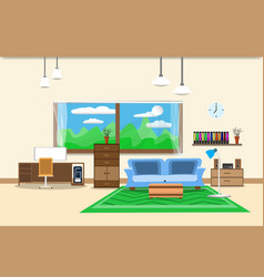 living room or office design interior relax with vector image