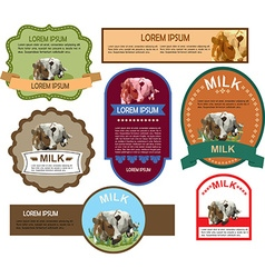 Set of Labels for Milk vector image vector image