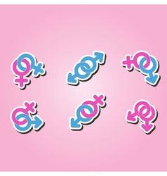 set of monochrome icons with symbols of gender vector image