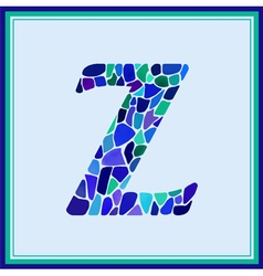 Z - letter - Green Watercolor mosaic vector image