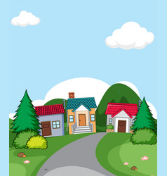 A rural house village scene vector