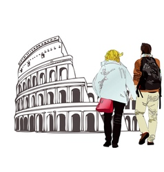 An engaged couple in Rome Italy vector