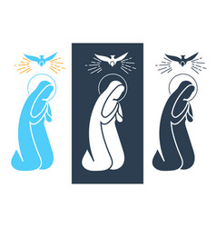 annunciation virgin mary icon vector image