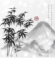 Bamboo trees and mountains hand drawn with ink vector image