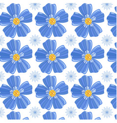 blue simple flowers seamless pattern vector image