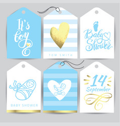 Blue sticker set it s a girl calligraphy vector