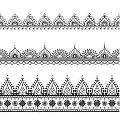 Border line lace mehndi elements in indian style vector
