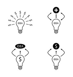 bulb idea dollar and plus sign icons set vector image vector image