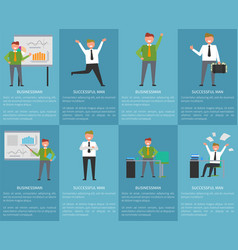 Businessman successful man posters with text set vector