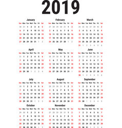 calendar of 2019 vector image