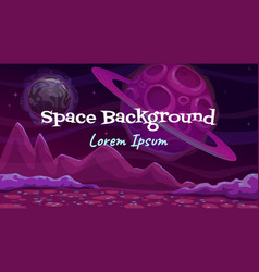 Cartoon fantasy space background alien planet vector